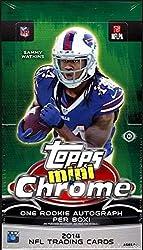 small 2014 Topps Chrome Mini Football Hobby Box (24 packs per box, 4 cards per pack, miniature rookies …