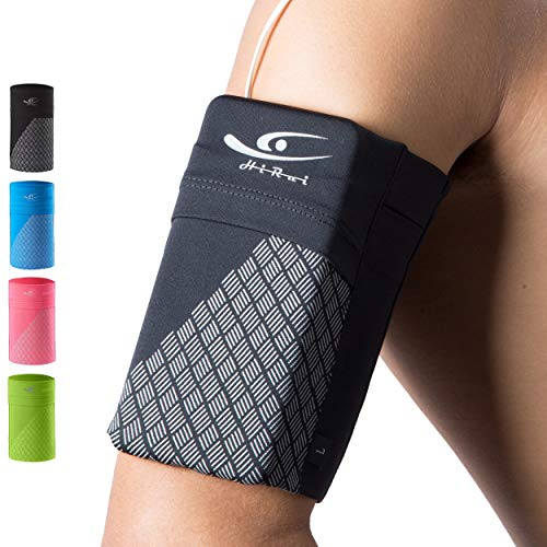 HiRui Universal Comfort Sports Armband Cell Phone Armband Running Armband, Fits All Phones, Reflective Stripes Logo, Unisex, Suitable for Travel Sport Outdoors (Medium, Black)