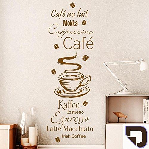 DESIGNSCAPE® Wandtattoo Kaffee Spezialitäten mit Kaffeebohnen: Café au lait, Mokka, Cappuccino, Ristretto, Espresso, Latte Macchiato, Irish Coffee 28 x 80 cm (Breite x Höhe) braun DW803398-S-F9