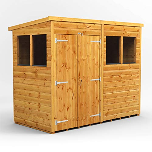 POWER | 8x4 Pent Garden Sheds | 8 x 4 Wooden Shed | Double Doors | Super Fast Delivery on all 4x8 Sheds
