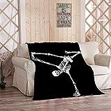 Amiiya Halloween Dancing Skeletons Flannel Throw Blanket, Skeleton Posed Like Brake Dancer Haloween Soft Lightweight Bedding Blanket for Bed Couch Sofa Camping 50 x 60 Inches