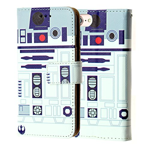 iPhone 7 Wallet Case, iPhone SE Case,DURARMOR Star Wars R2D2 Astromech Droid Robot Premium PU Leather Wallet Case with ID Credit Card Cash Slots Flip Stand Wrist Strap Cover Carrying Case for iPhone 7