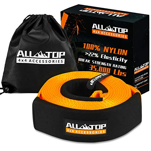 ALL-TOP 100% Nylon Recovery Tow Strap 3' x 20ft - 35,000 Lbs Snatch Strap - 22% Elasticity by Nylon N66 - Triple Reinforced Loop Adjustable Protector Sleeve - Generate Kinetic Force to Recover