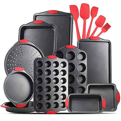 JoyTable Bakeware Set - 15 PC Baking Pans Set Nonstick Surface - Bakeware sets with Baking Pan, Oven Pan, Cookie Sheet, Baking Trays & More - Nonstick Bakeware Set with Silicone Handles & Utensils