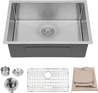 Lordear 26 Inch Undermount Deep Single Bowl 16 Gauge R10 Tight Radius Stainless Steel Kitchen Sink