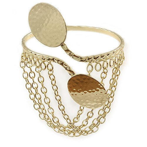 Gold Tone Double Oval Disk Hammered Upper Arm/Armlet Bracelet with Chains - Adjustable