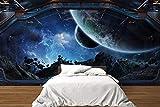 Oedim Fotomural Vinilo para Pared Interior Nave Espacial con Vista al Espacio | Mural | Fotomural Vinilo Decorativo |500 x 300 cm | Decoración comedores, Salones, Habitaciones