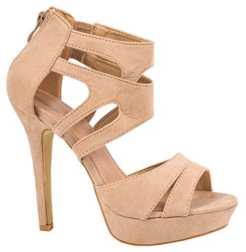 Elara Elara Damen Pumps offen Stilettos High Heels chunkyrayan LL85-Beige-38