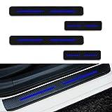 para Smart Decoración Pegatina para Estribos,Protección de Pedal de umbral,Faldones Laterales Fibra de Carbono,Evitar el Desgaste 4Pieza Azul