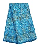 SanVera17 Manual Beading Glitter Stone African Lace Net Fabrics Nigerian Fabric Embroidered and Guipure Cord Lace for Party Wedding (Blue) 5 Yards