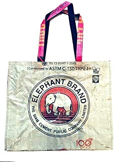 Eco Friendly Upcycled Grocery Bag/Shopping/ Beach Tote by Serado - Handmade in Cambodia from Recycled Cement & Feed Bags - Reusable & Durable (Cream w/Red Elephant)