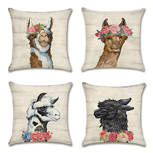 Artscope Pack of 4 Decorative Soft Cotton Linen Cushion Covers 45 x 45 cm Square Throw Pillow Covers Pillowcases for Sofa Couch Living Room (Alpaca)