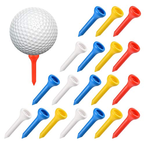 100pcs 1.42pulgadas/ 36mm Profesional Tee Golf Plástico, Durable Driver Golf Tees, Color Mixto Soporte Bolas Golf en Rojo, Naranja, Azul, Blanco