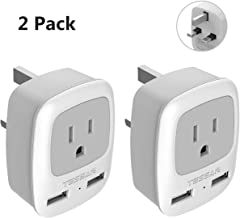 UK Hong Kong Ireland Travel Plug Adapter 2 Pack, TESSAN Type G Power Outlet Adaptor with 2 USB for USA to London Scotland Dubai British England Irish
