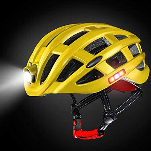 LIUJIE Vom Fahrradhelm mit LED-Licht, Net Anti-Insect USB-Licht, Wandern Helm, Ausrüstung Männern und Frauen,Gelb