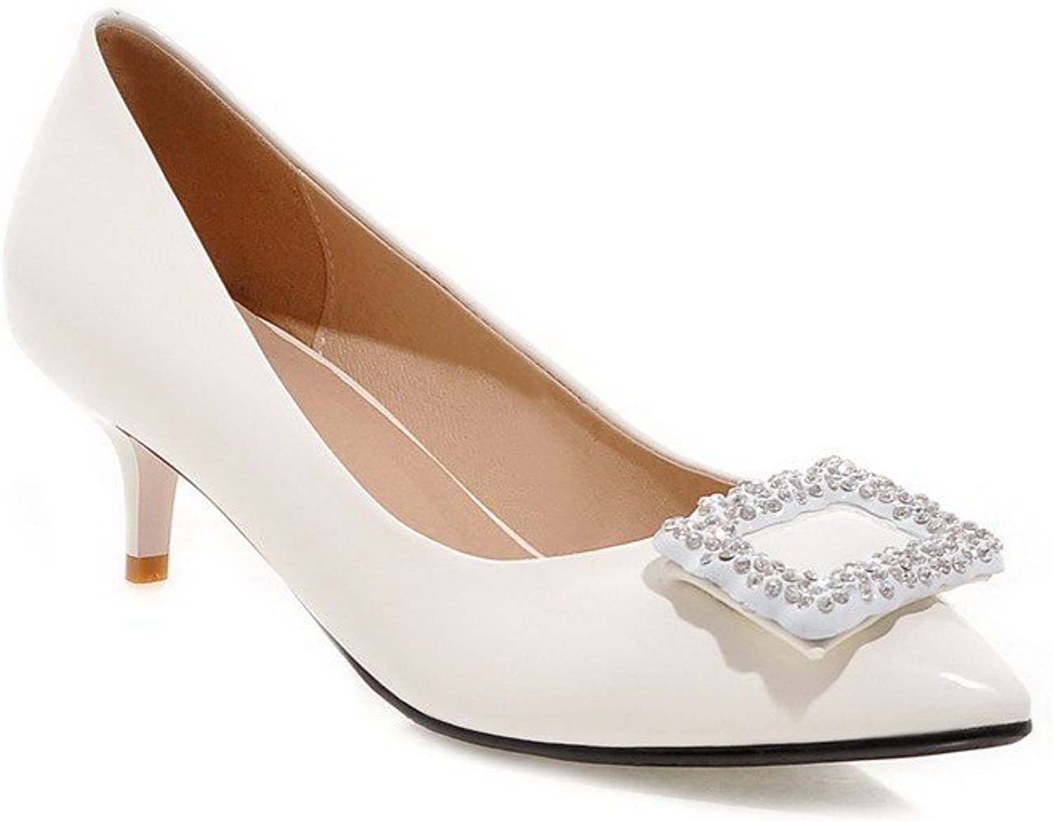 AmoonyFashion Women's PU Solid Pull-on Pointed Closed Toe Kitten-Heels Pumps-shoes