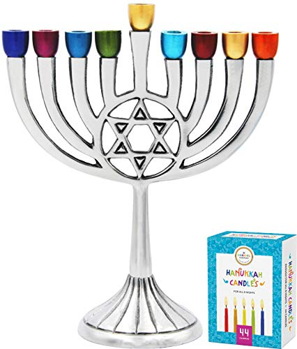 Hanukkah Menorah with Traditional Star with Colored Cups - Includes Box of 44 Multicolored Hanukkah Candles