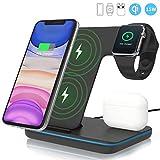 ZHIKE Chargeur sans Fil, Station de Charge Rapide 3 en 1 Qi 15W pour Apple iWatch Série 5/4/3/2/1,...