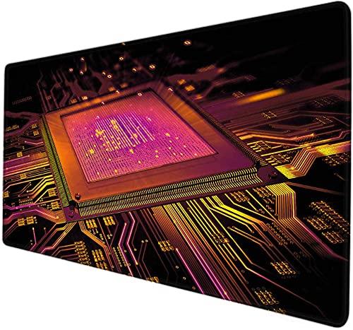 xxl mouse pad gaming Circuito placa cpu circuito minimalista procesador rojo grande alfombrilla de ratón XXL Mapa del mundo alfombrilla de ratón 900x400x3mm