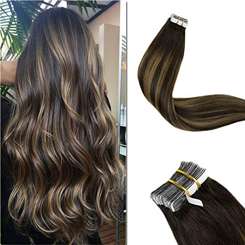 """LaaVoo 16"""" Best Rooted Tape in Human Extensions Colorful Darkest Brown and Light Brown 100% Remy Real Human Hair Extensions 20pcs/50g For Short Hair"""
