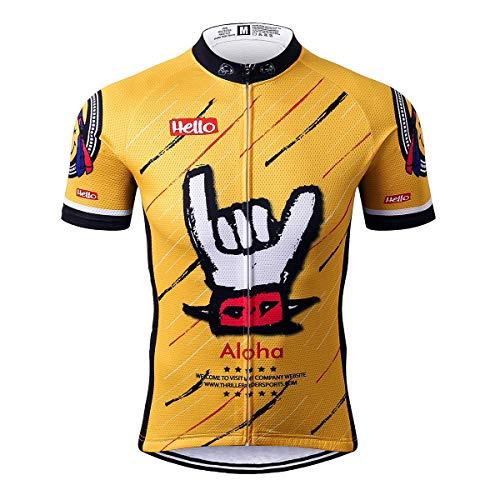 Thriller Rider Sports® Herren Aloha Yellow Sport & Freizeit MTB Fahrradbekleidung Radtrikot 5X-Large