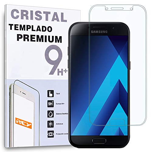 REY Protector de Pantalla Curvo para Samsung Galaxy A5 2017, Transparente, Cristal...