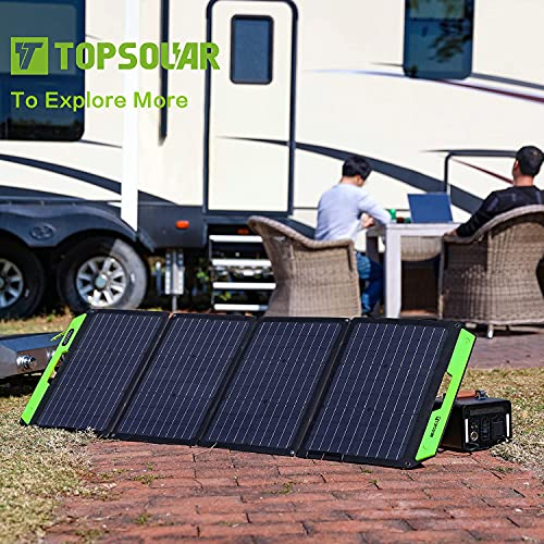 Upgrade Topsolar 120W Foldable Portable Solar Panel Charger Kits for Portable Power Station Generator Cell Phones Camera Lamp 12V Car Boat RV Battery