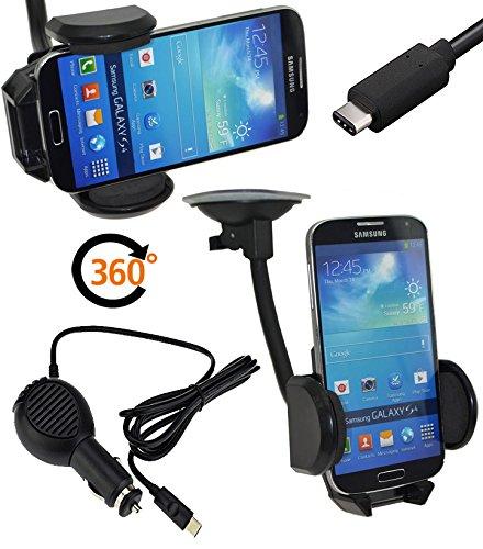 Favory Universal KFZ PKW Auto Halterung für Sharp Aquos C10 | D10 360° drehbar - Halter Autohalterung | geignet auch mit Bumper - Hülle - Tasche - Hülle + USB-C KFZ LADEKABEL USB Typ C Kabel 12-24V