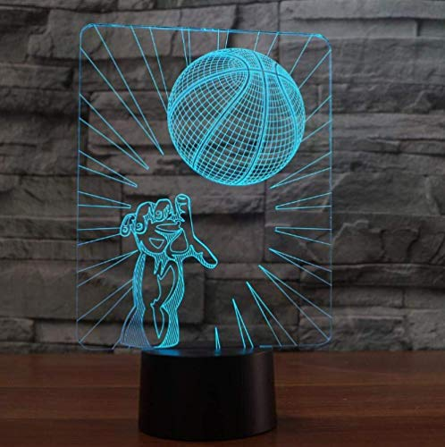 3D Illusion Night Light bluetooth smart Control 7&16M Color Mobile App Led Vision basketball decoration friends children children bedroom 3-in-1 mode acrylic