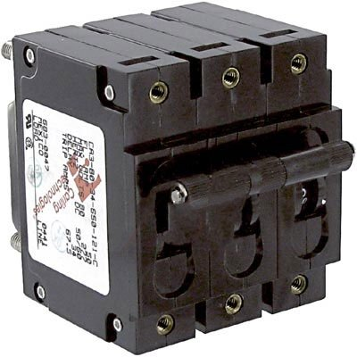 Magnetic Hydraulic Circuit Breaker, C Series, 50 A, 3 Pole, 277 V, 100 s, 5 kA
