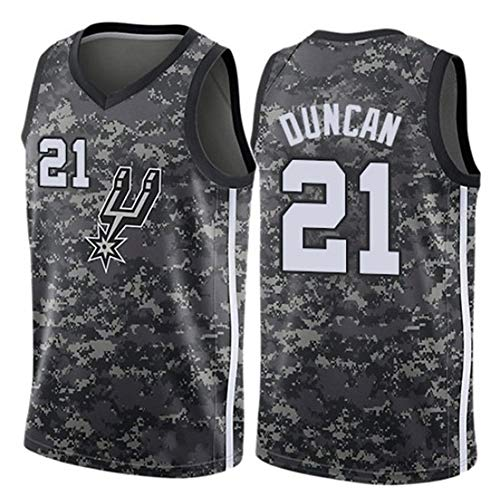 XGMJ Tim Duncan Herren Trikot, San Antonio Spurs #21 Retro Vintage Basketball Trikots New Fabric Embroidered Swingman Basketball Jersey Sleeveless Jersey Gr. XXL, a