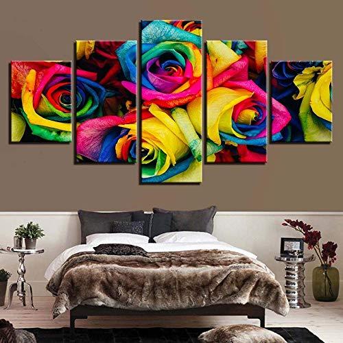 SSOOB Home Art marco de madera lienzo pared arte impresiones mural Flor rosa del arco iris 150x80 CM de lienzo de pared Cuadro de arte Decoración del hogar Pintura de impresión HD moderna Cartel modul