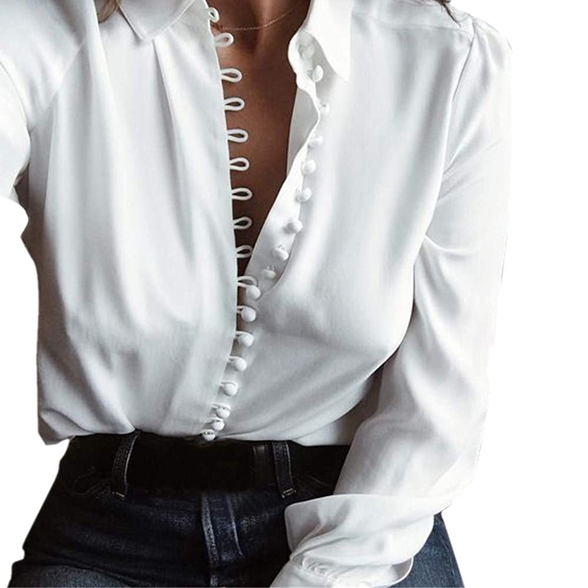Theshy Lapel T Shirt, 2019 Comfortable Fashion Design Women V Neck Casual Solid Long Sleeves Blouse Lapel Shirt Buttons