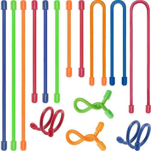 20 Stück Zahnrad Gummi Bänder Wiederverwendbare Gummi Bänder Biegsame Silikon Bänder Kabelbinder zum Bündeln und Halten, 5 Größen, Rot, Grün, Blau, Orange