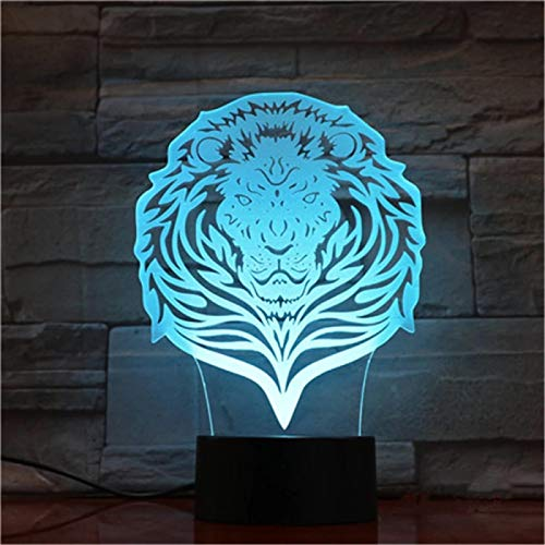 SCNYCUL 7 Color Night Lamp Lion face hair 7 colors 3D Visual Illusion LED Kids Toy Christmas Birthday Gifts with Remote Control, Best Boys Girls