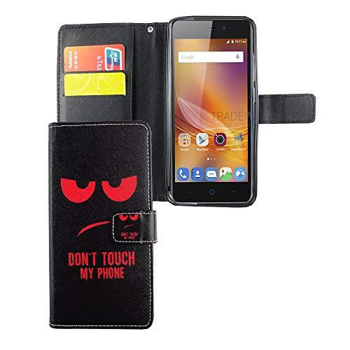 König Design Handyhülle Kompatibel mit ZTE Blade A452 Handytasche Schutzhülle Tasche Flip Case mit Kreditkartenfächern - Don't Touch My Phone Rot Schwarz