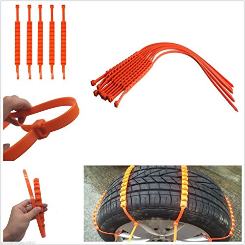 Lot de 10 chaînes à neige antidérapantes - Modèle universel - Faciles à installer - Pour pneus de 175 à 295