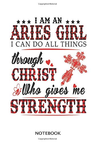 Aries navi blue cover dot lined notebook with 100 pages 6x9 inch: Plaid Birthday I'm An Aries Girl Chris Gives Me Strength