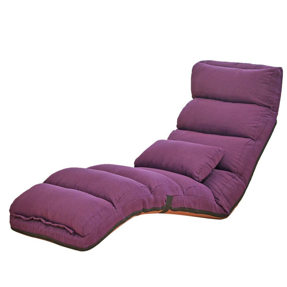 調節可能 折りたたみ フロアチェア,通気性 汎用性の高い フラフラになった バック サポート 瞑想チェア 怠惰なリクライニングチェア 畳 出窓用チェア-紫色 175*55cm