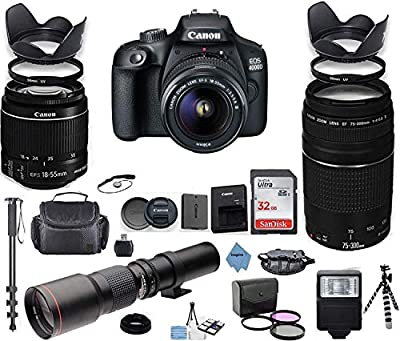 Canon EOS 4000D DSLR Camera with 18-55mm is II Lens Bundle + Canon EF 75-300mm f/4-5.6 III Lens and 500mm Preset Lens + 32GB Memory + Filters + Monopod + Professional Bundle + Inspire Digital Cloth by Canon Intl.