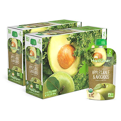 Happy Baby Organic Clearly Crafted Stage 2 Baby Food Apples, Kale & Avocados, 4 Ounce Pouch (Pack of 16) (Packaging May Vary)