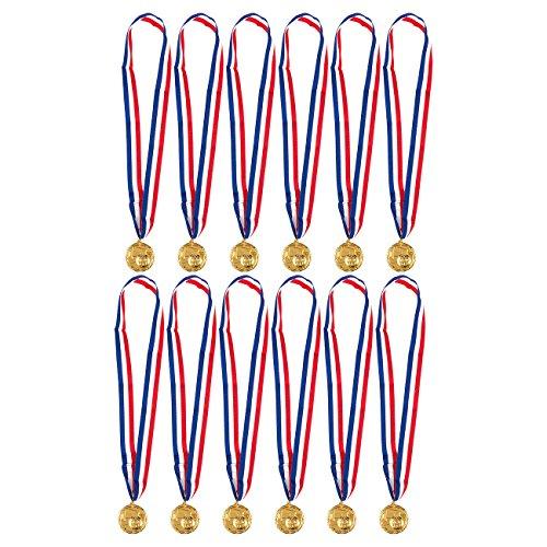 Juvale Goldfarbene Medaillen Fußball (Set, 12 Stück) - Metall mit Zinklegierung - Ideal für Wettbewerbe, Fußballturniere - Für Kinder und Erwachsene, Durchmesser ca. 5,1 cm
