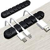 Organizador de Cables, 2 Piezas Organizador Clip de Cable, Organizador USB, Soporte Cables Escritorio para Cable de Alimentación Accesorio de Carga Cable de Mouse PC, Oficina y Hogar, Negro
