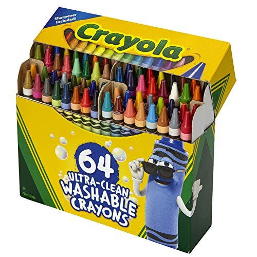 Crayola Ultra Clean waschbare Buntstifte, integrierter Spitzer, 64 Stück, für Kinder zu Hause