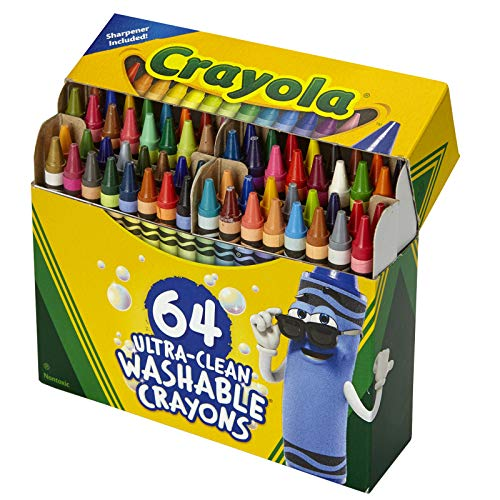 Crayola Ultra Clean Washable Crayons, Built In Sharpener, 64 Count, Kids At Home Activities