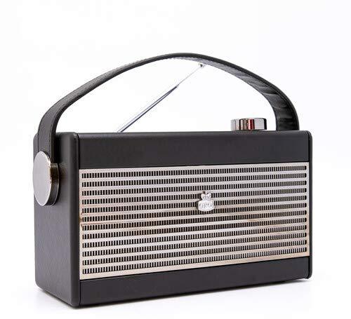 GPO Darcy Radio retro analótica portátil con rejilla retro y asa de transporte - Negro y plateado