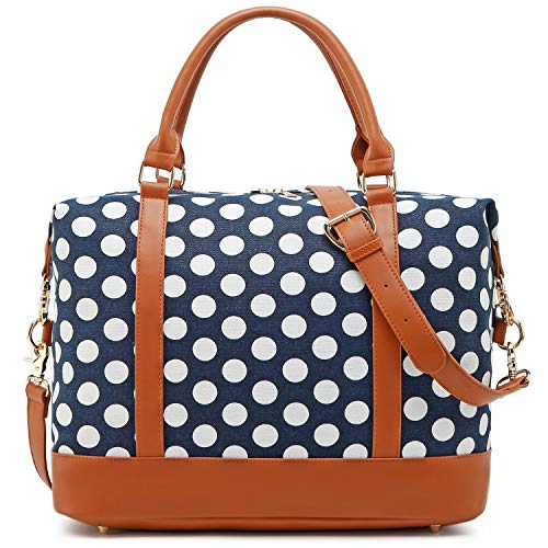 Ladies Women Weekender Travel Bag Carry On Tote Overnight Duffle in Trolley Handle (Dark Blue Polka Dot)