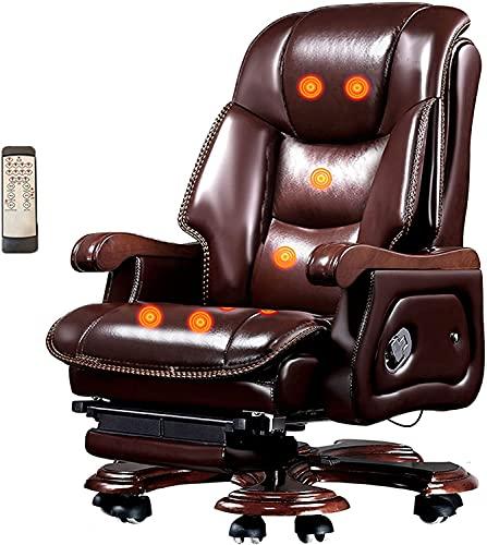 Silla de silla de oficina for el hogar Silla de cuero de madera sólida, levantable y giratoria, reciclable de goma de goma Capa de vaca Silla giratoria, diseño ergonómico, silla de juego, silla de com