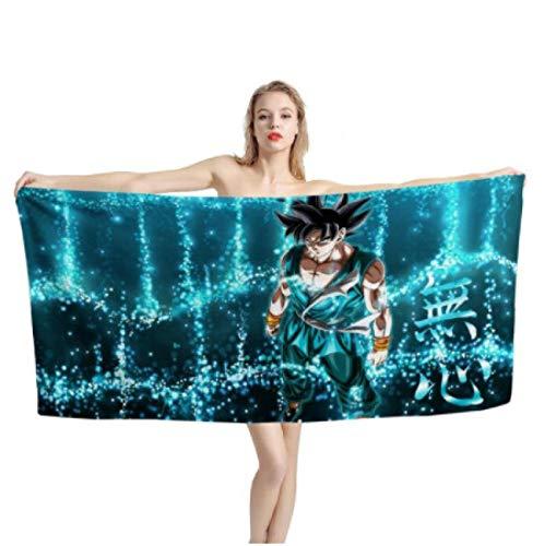 chinawh Anime Dragon Ball Print Badetuch Absorbent Sport Strandtücher Goku Pattern Soft Face Handtücher für Männer Frauen 70x140cm