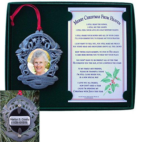 Merry Christmas From Heaven Engraved Photo Holder Ornament
